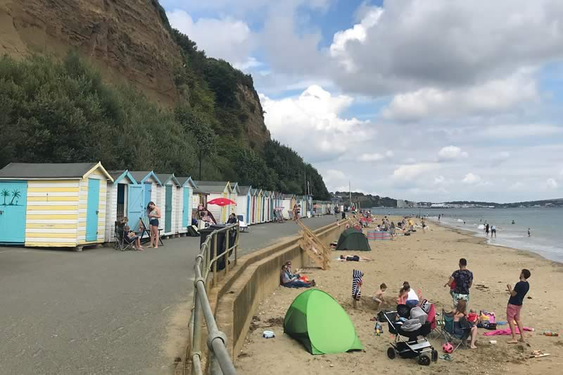 Beach huts at the Shanklin end