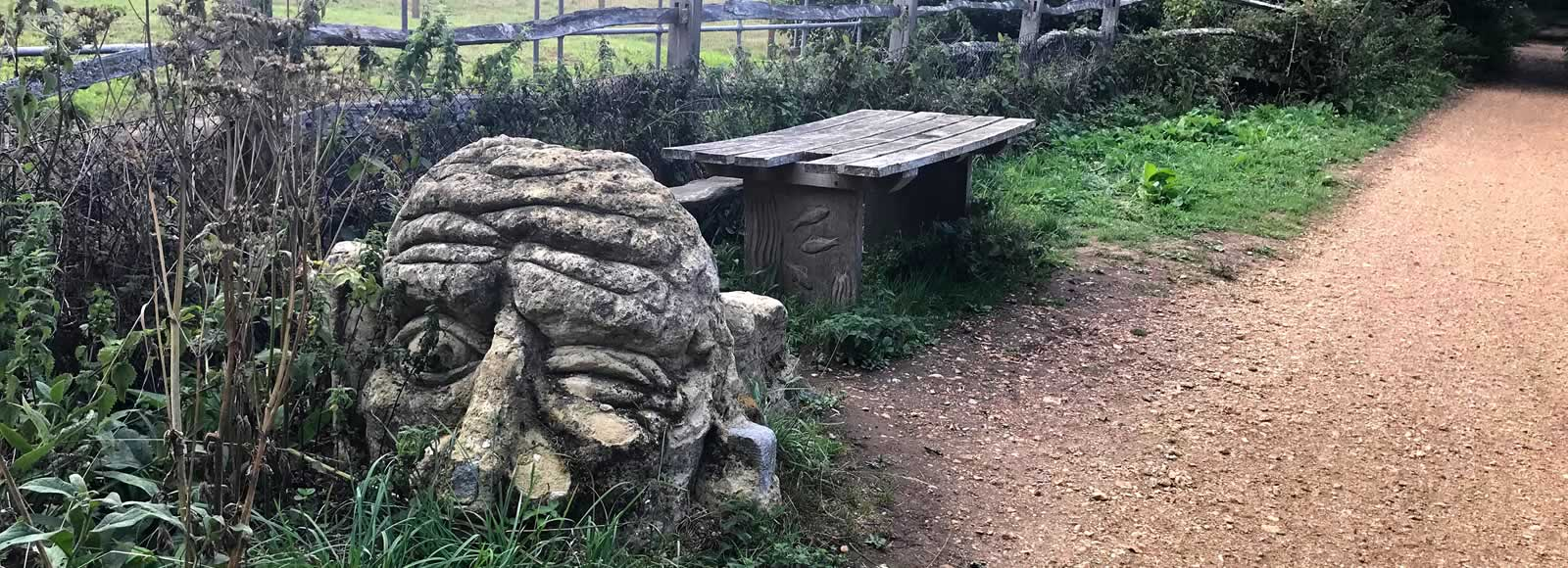 Troll bench, cycle track near Blackwater