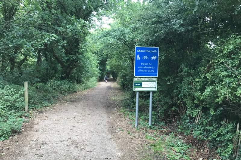 Wroxall end of the cycle track.